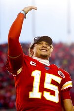 Kansas City Chiefs' Patrick Mahomes celebrates after the NFL AFC Championship football game against the Tennessee Titans Sunday, Jan. 19, 2020, in Kansas City, MO. The Chiefs won 35-24 to advance to Super Bowl 54. (AP Photo/Jeff Roberson)