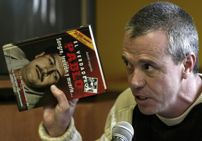 FILE - In this June 27, 2006 file photo, Jhon Jairo Velasquez, a former hit man for Pablo Escobar, known by his nickname
