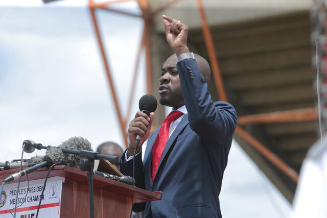 Zimbabwe's main opposition leader, Nelson Chamisa addresses party supporters at a gathering in Harare, Tuesday, Jan, 21, 2020. Chamisa said his party will roll out street protests against the government, as efforts by local churches and regional political leaders to resolve electoral disputes have failed. (AP Photo/Tsvangirayi Mukwazhi)