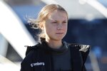 Climate activist Greta Thunberg arrives in Lisbon, Tuesday, Dec 3, 2019. Thunberg has arrived by catamaran in the port of Lisbon after a three-week voyage across the Atlantic Ocean from the United States. The Swedish teen sailed to the Portuguese capital before heading to neighboring Spain to attend the U.N. Climate Change Conference taking place in Madrid (AP Photo/Armando Franca)