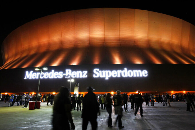 FILE - This Dec. 4, 2011, file photo shows an exterior view of the Mercedes-Benz Superdome before an NFL football game between the New Orleans Saints and the Detroit Lions in New Orleans. Louisiana lawmakers Thursday, July 22, 2021, decide whether to let the New Orleans Saints make a new naming rights deal for the Superdome, after Mercedes-Benz' contract for its moniker to be emblazoned on the stadium has expired.(AP Photo/Gerald Herbert, File)