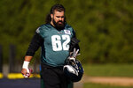 Philadelphia Eagles' Jason Kelce walks the field during practice at the NFL football team's training facility, Thursday, Nov. 19, 2020, in Philadelphia. (AP Photo/Matt Slocum, Pool)