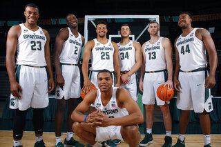 Miles Bridges, Xavier Tillman, Jaren Jackson, Kenny Goins, Gavin Schilling, Ben Carter and Nick Ward