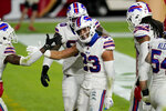 Buffalo Bills strong safety Micah Hyde (23) celebrates his interception against the San Francisco 49ers during the second half of an NFL football game, Monday, Dec. 7, 2020, in Glendale, Ariz. (AP Photo/Ross D. Franklin)