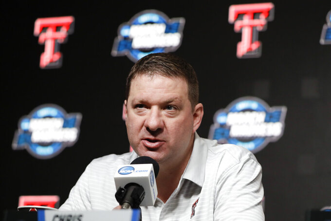 Texas Tech coach Chris Beard speaks during a news conference Friday, March 29, 2019, in Anaheim, Calif. Texas Tech plays Gonzaga in the NCAA men's college basketball tournament West regional final Saturday. (AP Photo/Chris Carlson)