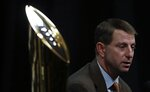 Clemson head coach Dabo Swinney answers questions at a news conference for the NCAA college football playoff championship game Sunday, Jan. 6, 2019, in Santa Clara, Calif. (AP Photo/Chris Carlson)