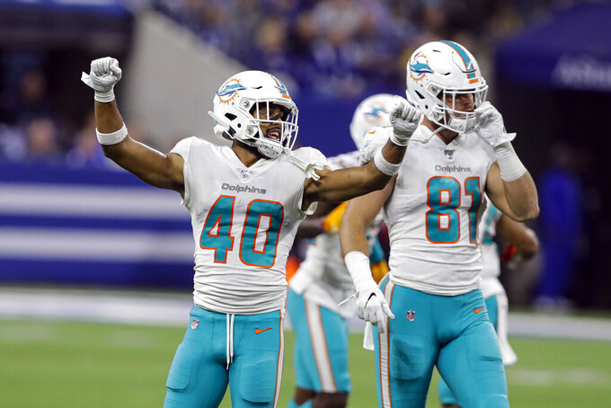 Miami Dolphins defensive back Nik Needham (40) celebrates in front of tight end Durham Smythe (81) following an NFL football game against the Indianapolis Colts in Indianapolis, Sunday, Nov. 10, 2019. (AP Photo/Darron Cummings)