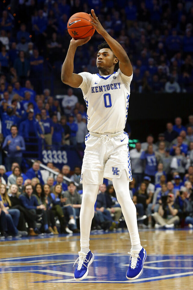 Kentucky's Ashton Hagans takes an uncontested shot during the second half of the team's NCAA college basketball game against Tennessee, Tuesday, March 3, 2020, in Lexington, Ky. Tennessee won 81-73. (AP Photo/James Crisp)