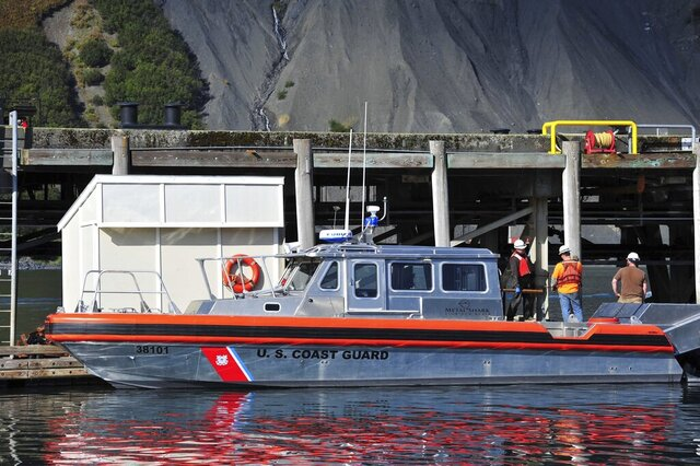 In this Sept. 23, 2011 photo, A Coast Guard 38-foot Special Purpose Craft Training Boat sits at the fuel pier in Women's Bay at Coast Guard Base Kodiak, Alaska. Nine people were hurt, including one critically, when a U.S. Coast Guard vessel collided with a U.S. Navy boat off Alaska's Kodiak Island. (Petty Officer 2nd Class Charly Hengen/U.S. Coast Guard via AP)