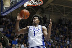 FILE - Duke center Vernon Carey Jr. (1) dunks against North Carolina during the second half of an NCAA college basketball game in Durham, N.C., in thnis Saturday, March 7, 2020, file photo. Carey Jr. is a possible pick in the NBA Draft, Wednesday, Nov. 18, 2020. (AP Photo/Gerry Broome, File)