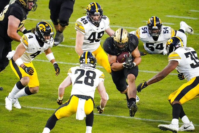 Purdue running back Zander Horvath (40) runs against Iowa during the fourth quarter of an NCAA college football game in West Lafayette, Ind., Saturday, Oct. 24, 2020. Purdue defeated Iowa 24-20. (AP Photo/Michael Conroy)