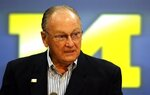 FILE - in this Nov. 13, 2006, file photo, former Michigan head football coach Bo Schembechler talks to the media in Ann Arbor, Mich. Former University of Michigan football players and others who say they were sexually abused by a now-deceased team doctor are expected to call for action by the University of Michigan's board as the legacy of Schembechler is being questioned over what he knew. The group has planned a news conference Wednesday June 16, 2021, in Ann Arbor, Mich. (Mandi Wright/Detroit Free Press via AP, File)