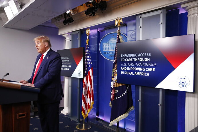 President Donald Trump speaks during a briefing with reporters in the James Brady Press Briefing Room of the White House, Monday, Aug. 3, 2020, in Washington.(AP Photo/Alex Brandon)