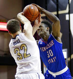 Tennessee State forward Stokley Chaffee Jr. (30) drives against Vanderbilt forward Matt Ryan (32) in the first half of an NCAA college basketball game Saturday, Dec. 29, 2018, in Nashville, Tenn. (AP Photo/Mark Humphrey)