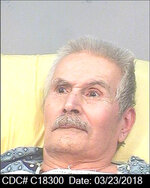 This March 23, 2018, photo released by California Department Of Corrections And Rehabilitation, shows condemned inmate Rodney James Alcala. Rodney James Alcala was 77. He died July 24, 2021, of natural causes at a hospital in San Joaquin Valley, Calif., prison officials said in a statement. Alcala was sentenced to death in 2010 for five slayings in California between 1977 and 1979, including that of a 12-year-old girl, though authorities estimate he may have killed up to 130 people across the country. (California Department of Corrections and Rehabilitation via AP)