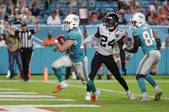 Miami Dolphins running back Patrick Laird (42) reacts after scoring a touchdown as Jacksonville Jaguars cornerback Quenton Meeks (24) and wide receiver Isaiah Ford (84) look on during the second half of an NFL football preseason game Thursday, Aug. 22, 2019, in Miami Gardens, Fla. (AP Photo/Lynne Sladky)