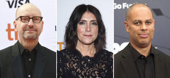 This combination photo shows producers Steven Soderbergh, from left, Stacey Sher and Jesse Collins. The Academy of Motion Picture Arts and Sciences said Tuesday, Dec. 8, 2020, that Soderbergh, Sher and Collins have come on board to produce the 93rd Oscars telecast. (AP Photo)