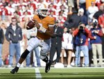 Tennessee quarterback Jarrett Guarantano (2) looks to throw the ball during the first half of an NCAA college football game against Alabama, Saturday, Oct. 20, 2018, in Knoxville, Tenn. Alabama won 58-21.  (Joy Kimbrough /The Daily Times via AP)