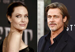 This combination photo shows Angelina Jolie at a premiere in Los Angeles on Sept. 30, 2019, left, and Brad Pitt at a special screening on Sept. 18, 2019. Jolie criticized a judge deciding on custody arrangements for her and Pitt's children during their divorce, saying in a court filing on Monday, May 24, 2021, that the judge refused to allow their kids to testify. (AP Photo/File)