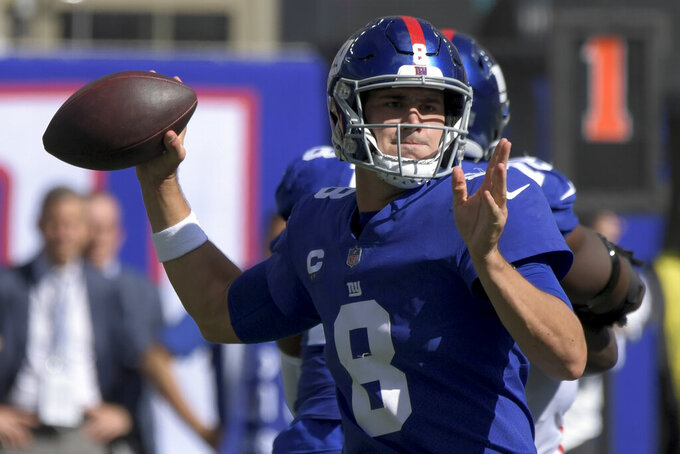 New York Giants quarterback Daniel Jones passes during the first half of an NFL football game against the Atlanta Falcons, Sunday, Sept. 26, 2021, in East Rutherford, N.J. (AP Photo/Bill Kostroun)