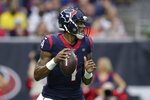 Houston Texans quarterback Deshaun Watson (4) looks to throws against the Carolina Panthers during the first half of an NFL football game Sunday, Sept. 15, 2019, in Houston. (AP Photo/Michael Wyke)