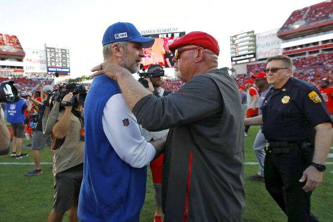 Indianapolis Colts head coach Frank Reich, left, congratulates Tampa Bay Buccaneers head coach Bruce Arians after an NFL football game Sunday, Dec. 8, 2019, in Tampa, Fla. (AP Photo/Mark LoMoglio)