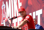 Los Angeles Angels center fielder Mike Trout speaks during a news conference to talk about his 12-year $426.5 million contract prior to a preseason baseball game against the Los Angeles Dodgers, Sunday, March 24, 2019, in Anaheim, Calif. (AP Photo/Mark J. Terrill)