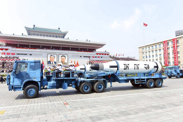 FILE - In this Saturday, April 15, 2017, file photo distributed by the North Korean government, Polaris submarine launched ballistic missiles (SLBM) are paraded to celebrate the 105th birth anniversary of Kim Il Sung, the country's late founder, in Pyongyang, North Korea. North Korea could soon conduct its first underwater-launched ballistic missile test in about a year, South Korea's military said Wednesday, Sept. 16, 2020, amid long-stalled nuclear talks between the North and the United States.(Korean Central News Agency/Korea News Service via AP, File)