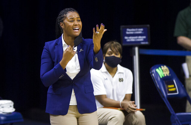 Notre Dame head coach Niele Ivey yells to players during an NCAA college basketball game against Miami (Ohio) on Sunday, Nov. 29, 2020, in South Bend, Ind. (Robert Franklin/South Bend Tribune via AP)