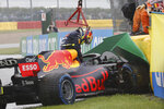 Red Bull driver Sergio Perez of Mexico gets out of his car after crashing on his way to the grid during the Formula One Grand Prix at the Spa-Francorchamps racetrack in Spa, Belgium, Sunday, Aug. 29, 2021. (AP Photo/Olivier Matthys)