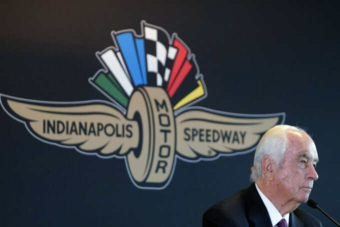 FILE - In this Nov. 4, 2019, file photo, Penske Corporation Chairman Roger Penske responds to a question about the sale of the Indianapolis Motor Speedway, IndyCar and related business from Hulman & Company to Penske Corporation at a news conference in Indianapolis. It is finally May and acceptable to declare this a crummy year for Roger Penske to have purchased Indianapolis Motor Speedway. (AP Photo/AJ Mast, File)