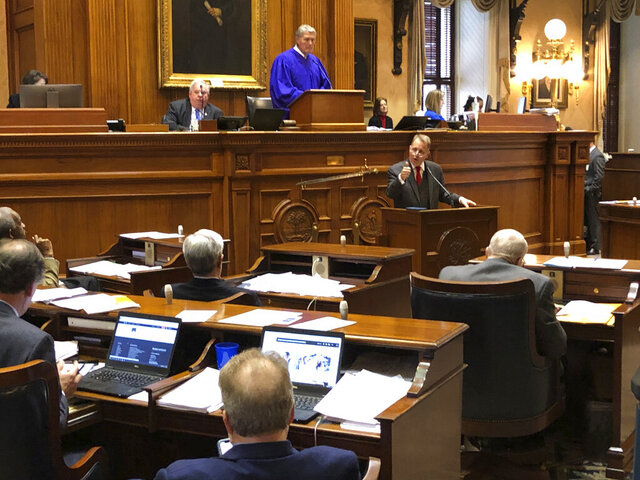 State Sen. Mike Fanning speaks against a massive education overhaul bill at the South Carolina Statehouse on Wednesday, March 4, 2020 in Columbia, South Carolina. The bill got key approval on Wednesday.(AP Photo/Jeffrey Collins)