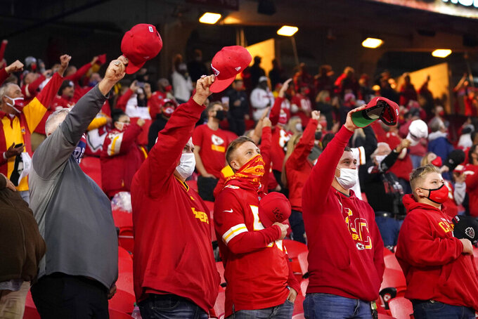 Kansas City Chiefs fans cheer before an NFL football game between the Chiefs and the Houston Texans Thursday, Sept. 10, 2020, in Kansas City, Mo. (AP Photo/Jeff Roberson)