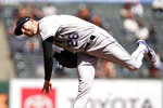 Colorado Rockies starting pitcher Austin Gomber works in the first inning of a baseball game against the San Francisco Giants, Friday, April 9, 2021, in San Francisco. (AP Photo/Eric Risberg)