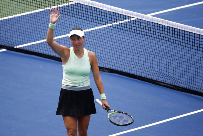 Jessica Pegula acknowledges the crowd after defeating Anna Kalinskaya, of Russia, in a semifinal match at the Citi Open tennis tournament, Saturday, Aug. 3, 2019, in Washington. (AP Photo/Patrick Semansky)