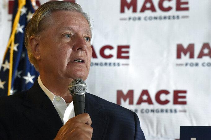 U.S. Sen. Lindsey Graham speaks at a campaign event for U.S. House candidate Nancy Mace on Monday, Sept. 21, 2020, in North Charleston, S.C. (AP Photo/Meg Kinnard)