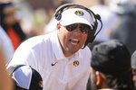 Missouri head coach Eliah Drinkwitz talks to his bench during the first quarter of an NCAA college football game against Southeast Missouri State, Saturday, Sept. 18, 2021, in Columbia, Mo. (AP Photo/L.G. Patterson)