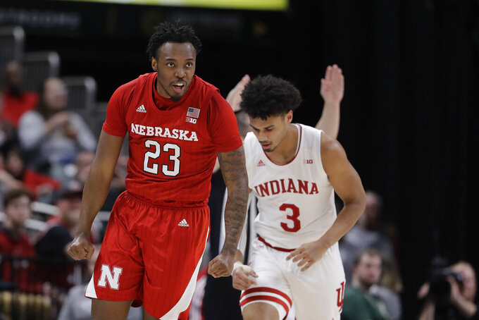 Nebraska's Jervay Green (23) reacts after making a shot during the first half of an NCAA college basketball game against Indiana at the Big Ten Conference tournament, Wednesday, March 11, 2020, in Indianapolis. (AP Photo/Darron Cummings)