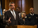 Former Los Angeles Police Chief Charlie Beck speaks during a press conference at City Hall after Mayor Lori Lightfoot officially announced he would be Chicago's interim police superintendent, Friday, Nov. 8, 2019.  Beck's name surfaced as a possible interim superintendent even before Eddie Johnson made his expected announcement that he was stepping down after more than three years as superintendent and more than 30 years with the department. Johnson, 59, will remain with the department until the end of the year, Lightfoot said. (Ashlee Rezin Garcia /Chicago Sun-Times via AP)