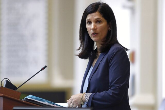 FILE - In this March 17, 2020, file photo, House speaker Sara Gideon, D-Freeport, conducts business in the House Chamber at the State House in Augusta, Maine. Gideon is one of three Democrat candidates seeking the party's nomination for U.S. Senate in the July 14 primary. (AP Photo/Robert F. Bukaty, File)