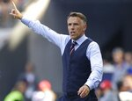 England head coach Philip Neville reacts during the Women's World Cup third place soccer match between England and Sweden at Stade de Nice, in Nice, France, Saturday, July 6, 2019. (AP Photo/Claude Paris)