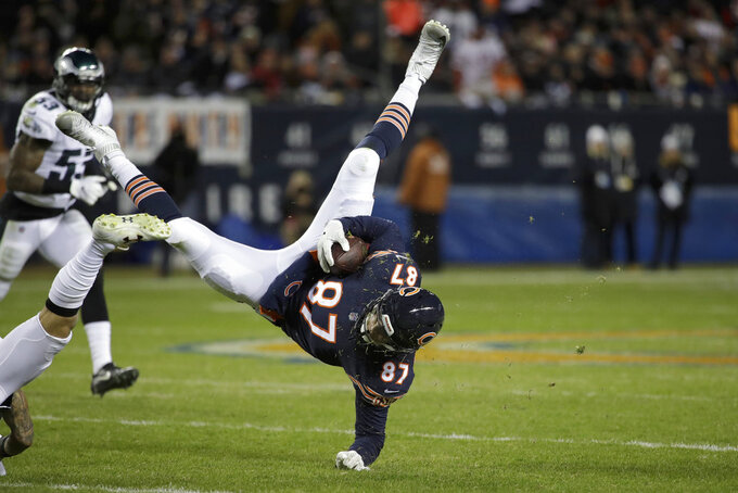 Chicago Bears tight end Adam Shaheen (87) makes a catch during the second half of an NFL wild-card playoff football game against the Philadelphia Eagles Sunday, Jan. 6, 2019, in Chicago. (AP Photo/Nam Y. Huh)
