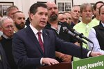At a news conference at an Ironworkers union hall, Pennsylvania lawmaker Rep. Thomas Mehaffie discusses legislation he is introducing to pump hundreds of millions of ratepayer dollars into the state's five nuclear power plants, Monday, March 11, 2019, in Harrisburg, Pa. (AP Photo/Marc Levy)
