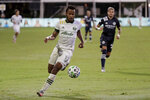 Portland Timbers forward Jeremy Ebobisse moves the ball down field against the New York City during the first half of an MLS soccer match, Saturday, Aug. 1, 2020, in Kissimmee, Fla. (AP Photo/John Raoux)