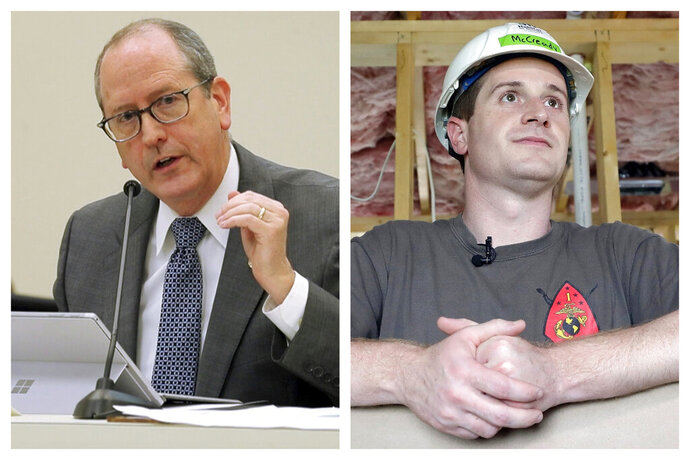 This combination of 2018 photos shows N.C. Sen. Dan Bishop, left, and Dan McCready. The Democrat in a North Carolina U.S. House special election ordered after a ballot-collection scandal has a big lead in the money race over his Republican rival to represent a GOP-leaning district. Reports filed with the Federal Election Commission late Monday, July 15, 2019 showed Democrat Dan McCready collected double the contributions as Republican Dan Bishop since late April. (Chris Seward/Raleigh News & Observer via AP, Chuck Burton)