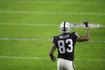 Las Vegas Raiders tight end Darren Waller (83) celebrates after scoring a touchdown against the Kansas City Chiefs during the second half of an NFL football game, Sunday, Nov. 22, 2020, in Las Vegas. (AP Photo/Isaac Brekken)