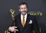 CORRECTS THE DATE TO SUNDAY, SEPT. 15 -  Chris O'Dowd poses in the press room with the award for outstanding actor in a short form comedy or drama series for
