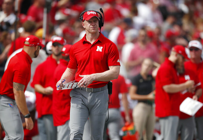 Nebraska head coach Scott Frost looks on against Colorado in the second half of an NCAA college football game Saturday, Sept. 7, 2019, in Boulder, Colo. Colorado won 34-31 in overtime. (AP Photo/David Zalubowski)