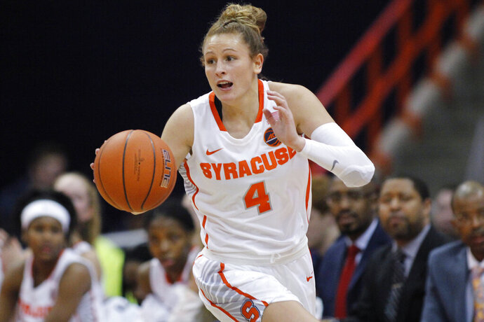 "FILE - In this Jan. 23, 2019, file photo, Syracuse's Tiana Mangakahia dribbles down court in the second quarter of an NCAA basketball game against Miami in Syracuse, N.Y. Mangakahia is halfway through treatment for breast cancer and says she often wonders ""Why me?"" One of the top women's basketball players in the country and a player who nearly elected to enter the WNBA draft, the star from Australia says the feedback from doctors has been good and she'll receive more tests Friday updating the status of her recovery. (AP Photo/Nick Lisi, File)"