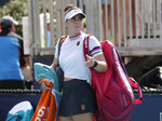 Bianca Andreescu, of Canada, walks off the court after retiring from her match against Anett Kontaveit, of Estonia, during the Miami Open tennis tournament, Monday, March 25, 2019, in Miami Gardens, Fla. (AP Photo/Lynne Sladky)